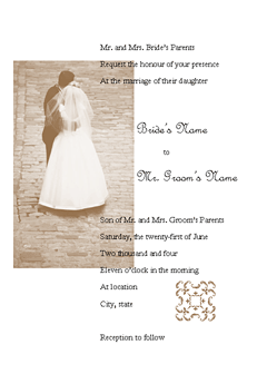 Wedding Invitation (juliet Design, For Desktop Printing)