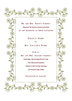 Wedding Invitation (renaissance Design)