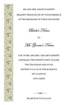 Wedding Invitation (tapestry Design, Vertical Border, For Desktop Printing)