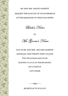 Wedding invitation (Tapestry design, vertical border, for commercial printing) Printable Invitations