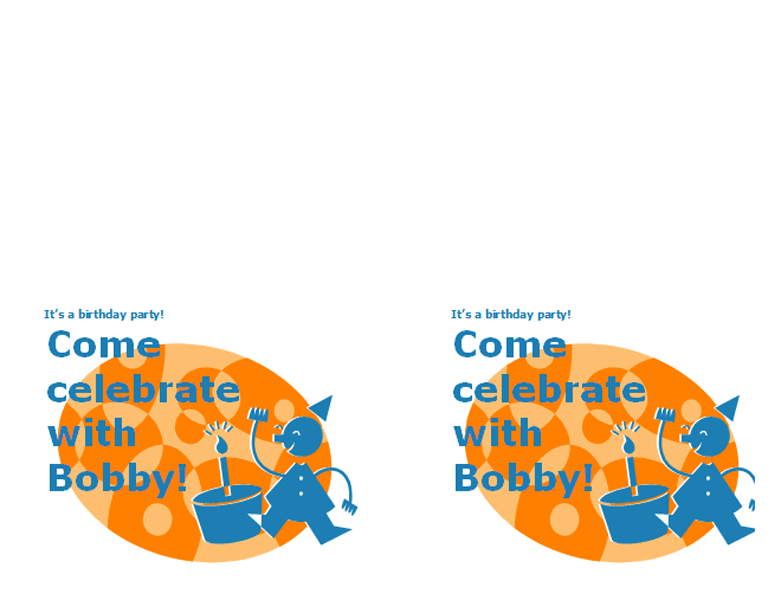 Children Fun Orange Birthday Party Printable Invitations