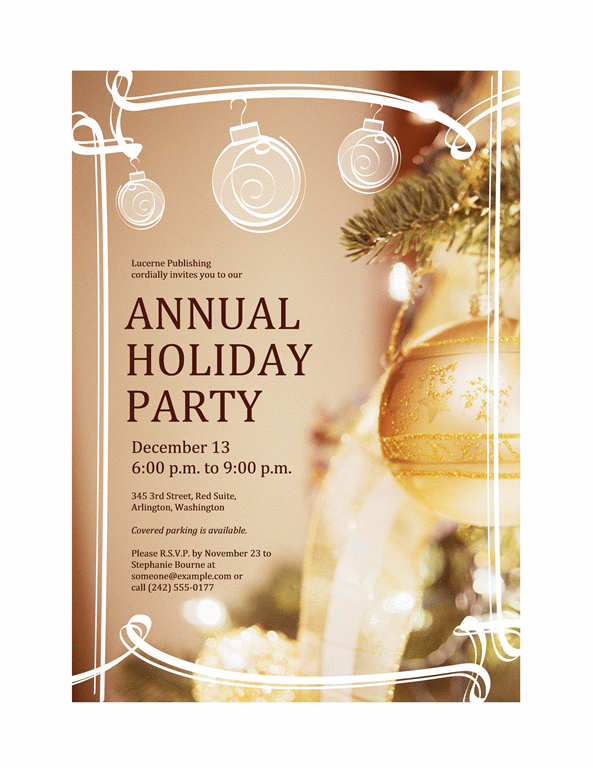 Holiday Party Invitation (for Business Event) Printable Invitations  Free Event Invitation Templates