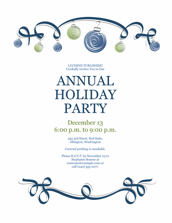Holiday Party Invitation With Blue And Green Ornaments (formal Design)