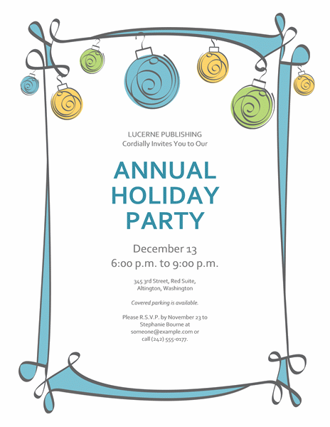 Holiday Party Invitation With Blue, Green, And Yellow Ornaments (informal Design)