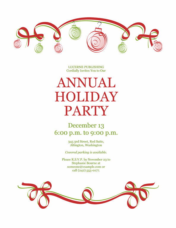 Holiday Party Invitation With Red And Green Ornaments (Formal Design)  Printable Invitations  Microsoft Office Invitation Templates