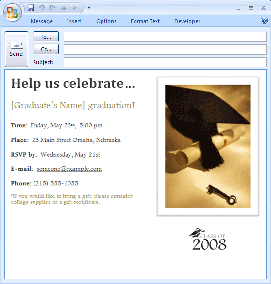 E-mail Message: Graduation Party Invitaton