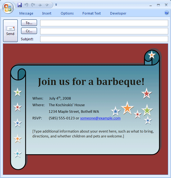 Download Free Printable Invitations Of Email BBQ Invitation - Birthday invitation on mail