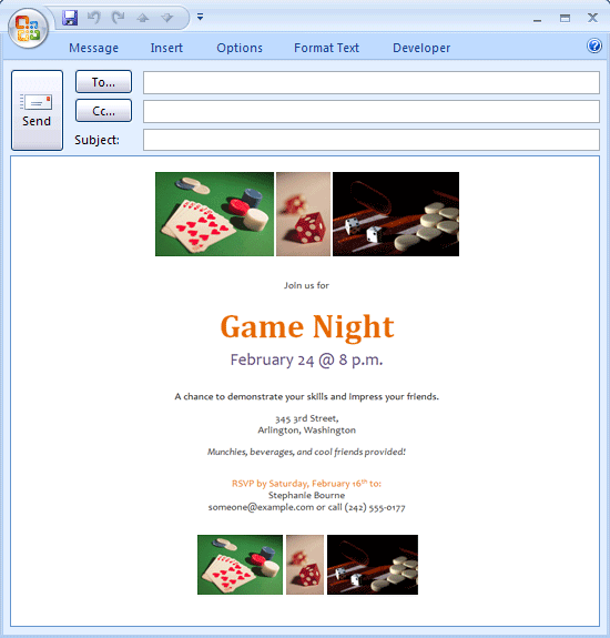E-mail Message: Game Night Invitation