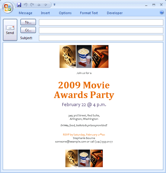 E Mail Message Movie Awards Party Invitation