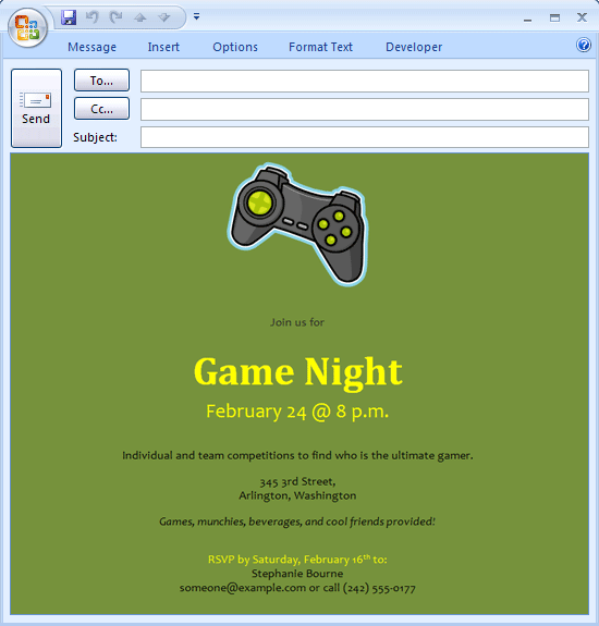 E-mail message: Video game night invitation Printable Invitations