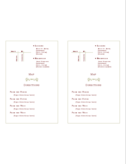 Directions insert (Renaissance design) Printable Invitations