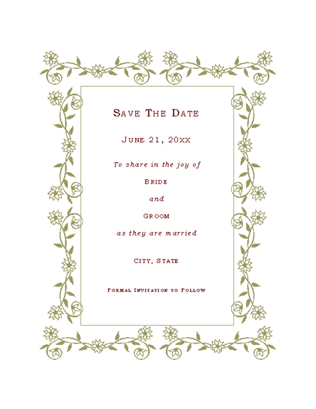 Beautiful Save The Date Card (Renaissance Design) Printable Invitations. Free Download  ... Throughout Microsoft Office Invitation Templates Free Download