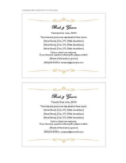 Wording For Wedding Registry Card : Registry cards (Heart Scroll design) Printable Invitations