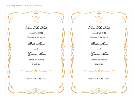Save The Date Card (heart Scroll Design)