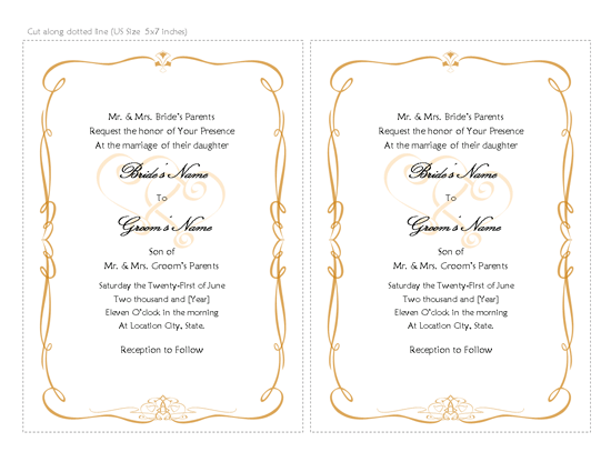 Wedding Invitation (heart Scroll Design)