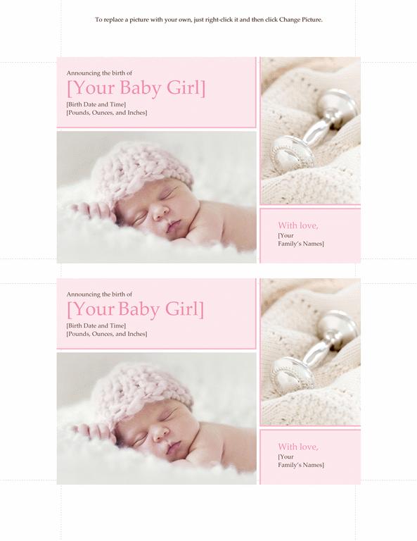 Elegant Baby Girl Birth Announcement