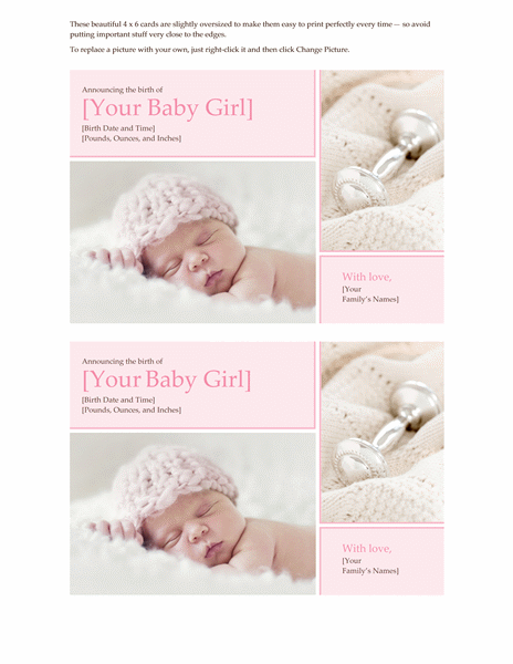 free online birth announcement templates - free download printables invitation templates baby girl