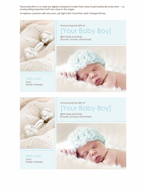 Elegant Baby Boy Birth Announcement Printable Invitations