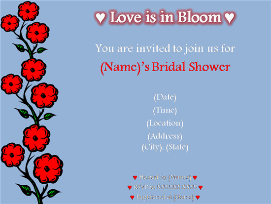 Printables Invitations Templates Samples Red Poppies Bridal Shower