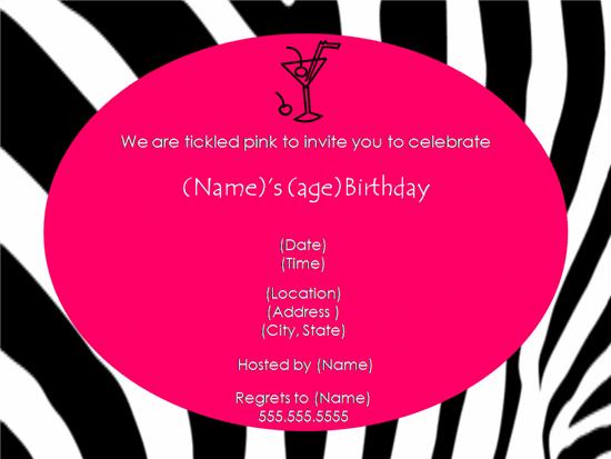 Pink Zebra Birthday Party Invitation 2