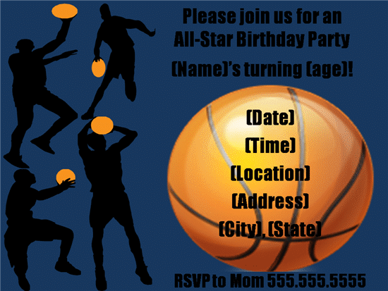 templates party invitation basketball birthday close back to template ...