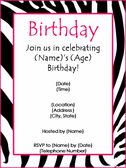 Zebra And Pink Border Birthday Party Invitation