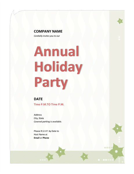 Company Holiday Event Party Invitation Templates Printable Invitations