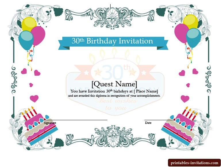 Printable Surprise 30th Birthday Invitations for Him and Her Printable Invitations