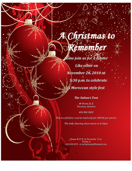 Christmas dinner for Christmas dinner invite templates