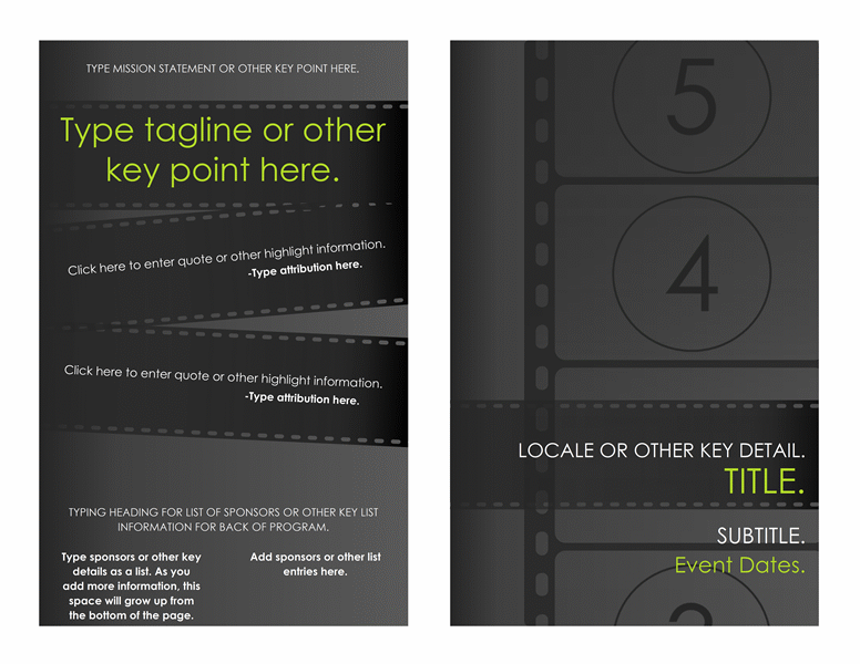 Film Festival Program Printable Invitations