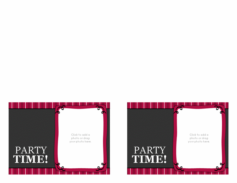 Birthday party invitations (magenta, 2 per page) Printable Invitations