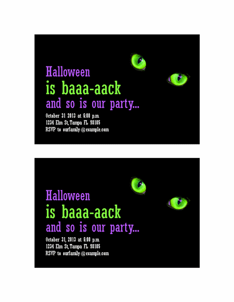 Halloween party invitations (with cat's eyes, 2 per page) Printable Invitations