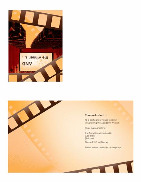 Movie Awards Party Invitation (quarter-fold)