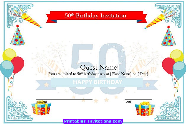 Cool 50th Birthday Invitations Templates Ideas Printable Invitations  Free Birthday Template Invitations