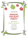 Holiday Party Invitation With Red And Green Ornaments (informal...