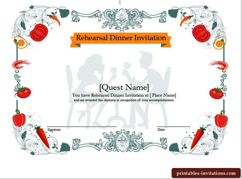 Cute Rehearsal Dinner Invitations Template
