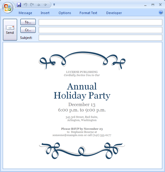 Download free printable invitations of e mail message holiday party invitation blue ribbon design for Free email invitation
