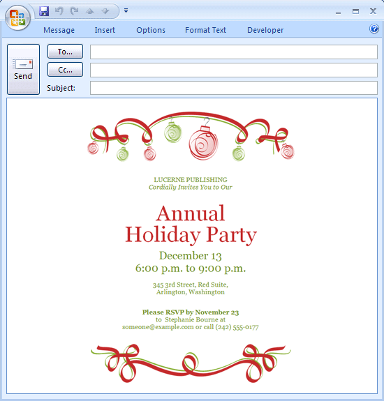 ... Printable E-mail message: Holiday party invitation (ornaments design