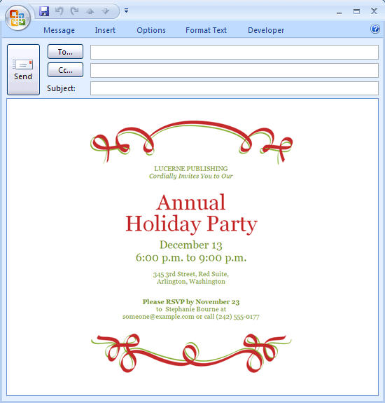 Free Printable E-mail message: Holiday party invitation (red ribbon ...