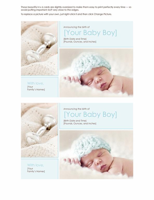 Elegant Baby Boy Birth Announcement