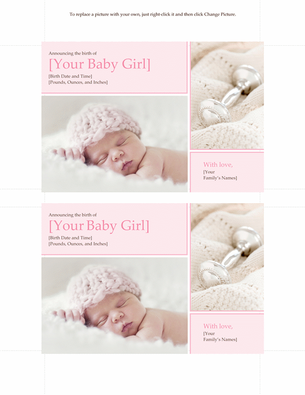 Elegant Baby Girl Birth Announcement