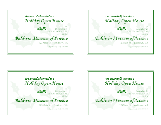 Download Free Printable Invitations Of Holiday Open House