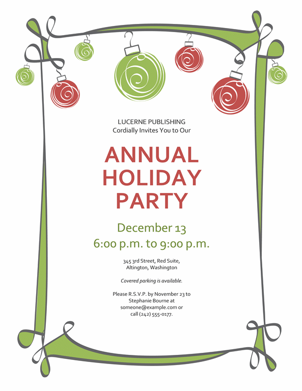 Holiday Party Invitation With Red And Green Ornaments (informal Design)