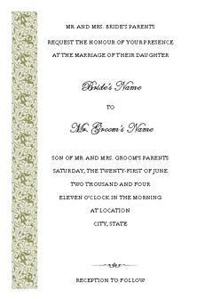 Wedding Invitation (tapestry Design, Vertical Border, For Desktop Printing)