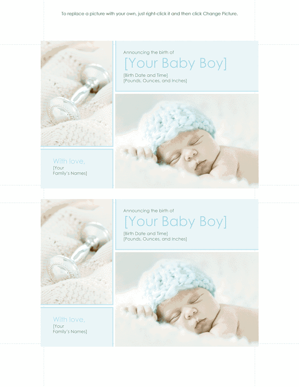 Download Green-color Baby Boy Birth Announcement
