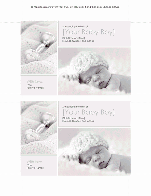 Download Grey-color Baby Boy Birth Announcement