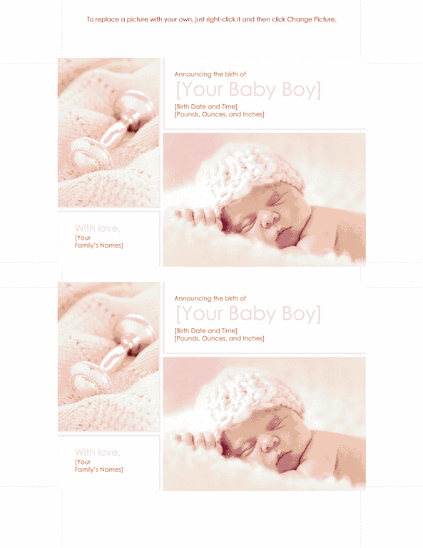 Download Red-color Baby Boy Birth Announcement