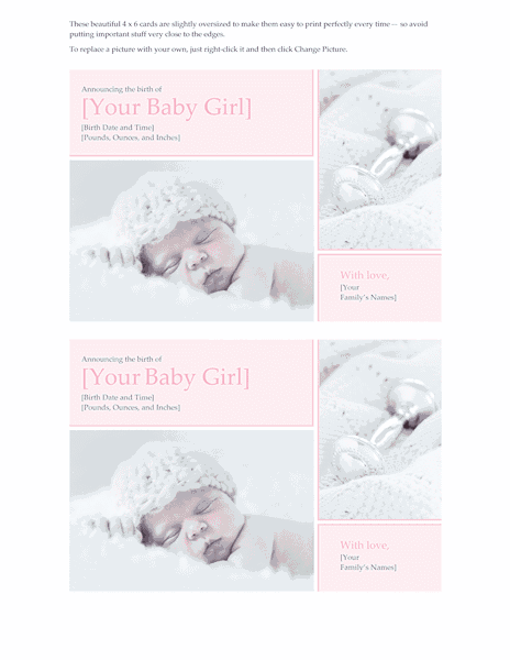 Download Blue-color Baby Girl Birth Announcement