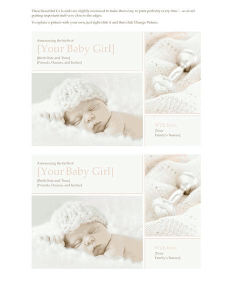 Download Green-color Baby Girl Birth Announcement