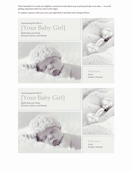 Download Grey-color Baby Girl Birth Announcement